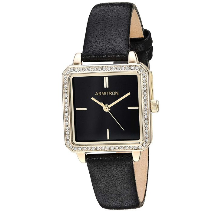 Armitron Swarovski Crystal Accented Black Leather Women's Watch 75/5597BKGPBK
