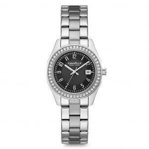 Caravelle New York Swarovski Crystal Black Dial Stainless Steel Women's Watch 43M113