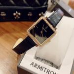 Armitron Swarovski Crystal Accented Black Leather Women's Watch 75/5597BKGPBK