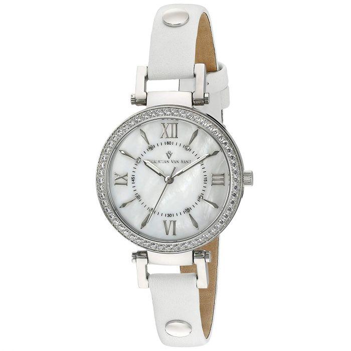 Christian Van Sant Petite Round White Leather Swiss Quartz Women's Watch CV8130