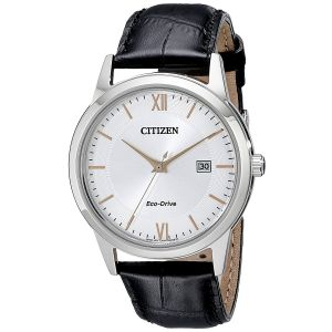 Citizen Eco-Drive Date Black Leather Men's Watch AW1236-03A
