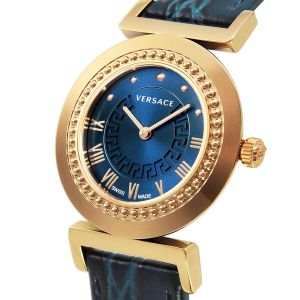 Versace Vanity Gold Blue Leather Women's Watch P5Q80D282S282