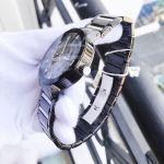 Bulova Diamond Accented Mặt Tròn Dây Kim Loại Màu Đen Lịch Ngày 98D109