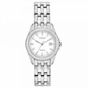 Citizen Silhouette Crystal Silver Date Women's Watch EW1901-58A