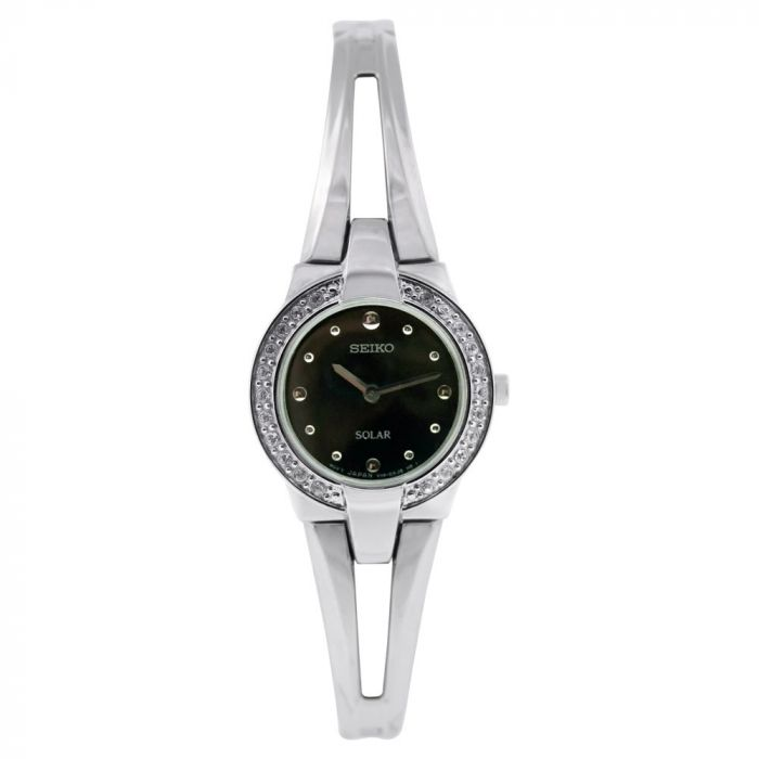 Seiko Black Dial Solar Bracelet Women's Watch SUP051