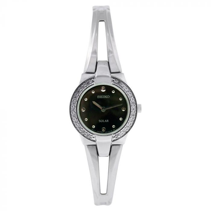 Seiko Black Dial Solar Bracelet Women's Watch SUP051