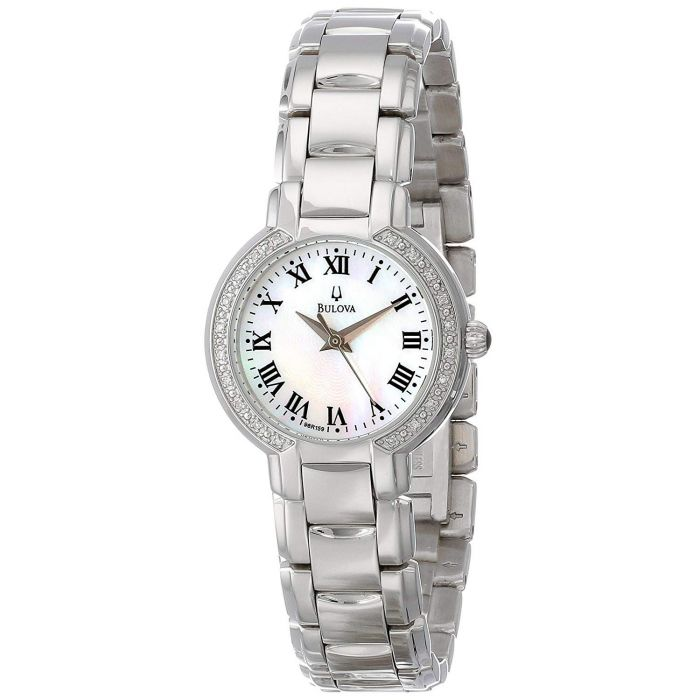 Bulova Mother of Pearl Diamond Stainless Steel Women's Watch 96R159