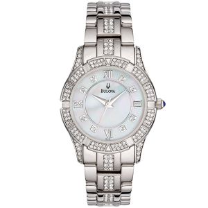 Bulova Mother Of Pearl Silver Swarovski Women's Watch 96L116