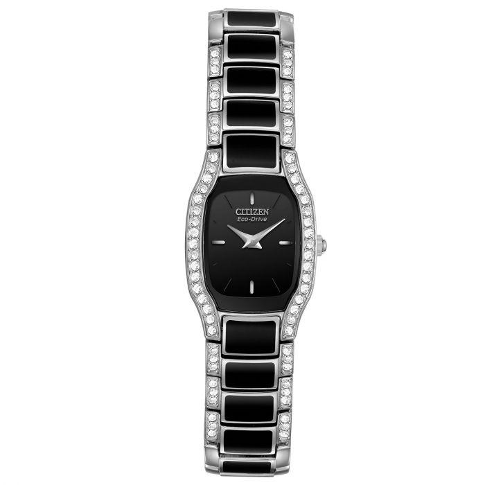 Citizen Normandie Black Dial Crystal Accents Tonneau Bracelet Women's Watch EW9780-57E
