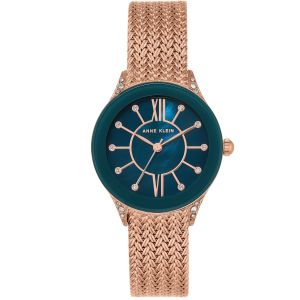 Anne Klein Swarovski Crystal Rose Gold Mesh Women's Watch AK/2208NMRG