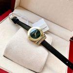 Salvatore Ferragamo Gancino Mặt Tròn Dây Da Màu Đen Viền Vàng SF4300118