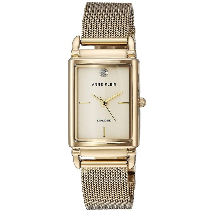 Anne Klein Diamond Accented Gold Mesh Bracelet Women's Watch AK/2970CHGB