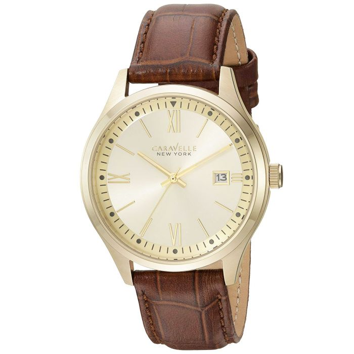 Caravelle New York Brown Leather Casual Men's Watch 44B109