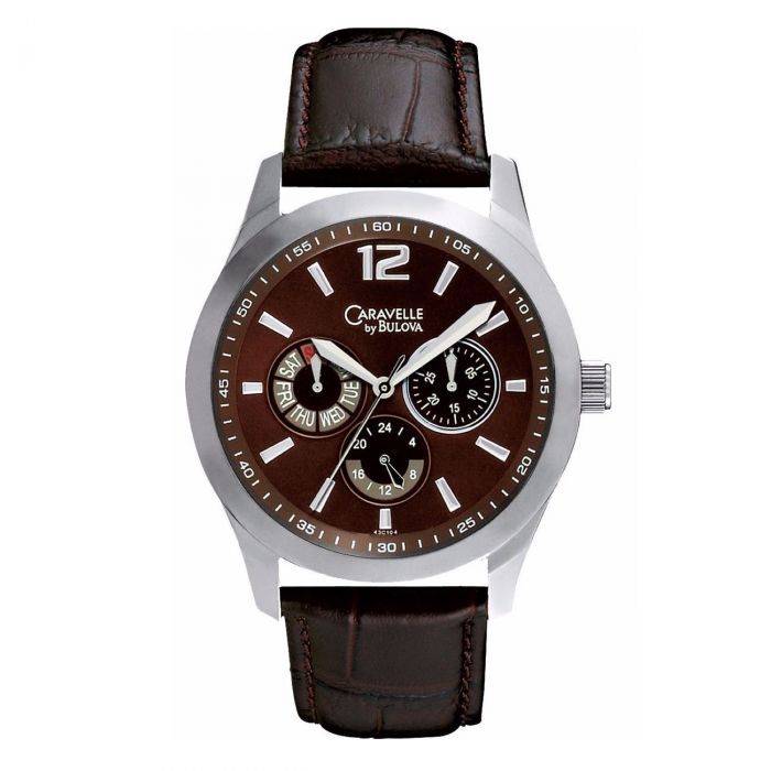 Caravelle By Bulova Multifunction Brown Dial Leather Men's Watch 43C104