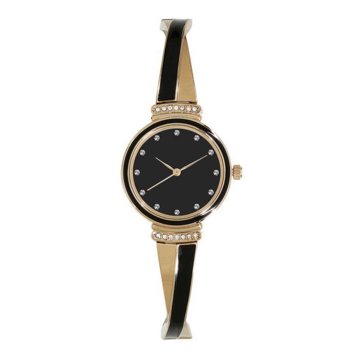 Anne Klein Swarovski Crystal Accented Gold Tone and Black Bangle Women's Watch AK/2216BKGB