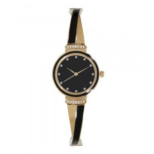 Anne Klein Swarovski Crystal Accented Gold Tone and Black Bangle Women's Watch AK/2216BKGB