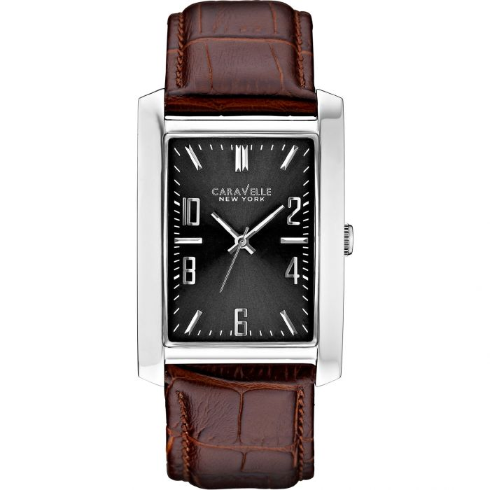 Caravelle New York Grey Dial Brown Leather Men's Watch 43A119