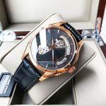 Hamilton Jazzmaster Open Heart Automatic Mặt Tròn Viền Vàng Hồng Dây Da Màu Đen H32575735