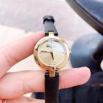 Salvatore Ferragamo Miniature Mặt Tròn Màu Vàng Dây Da Màu Đen FAT020017