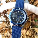 Bulova Chronograph Mặt Tròn Màu Đen Dây Cao Su Màu Xanh 98A190