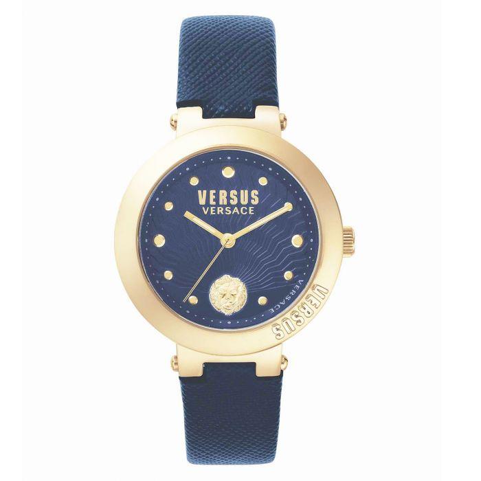 Versus by Versace Lantau Mặt Tròn Viền Vàng Hồng Màu Xanh VSP370817