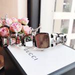 Gucci G-Gucci Mặt Chữ Nhật Màu Nâu Dây Kim Loại Màu Bạc YA125402