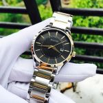 Bulova Classic Demi Vàng Mặt Tròn Màu Đen Dây Kim Loại Lịch Ngày 98B290