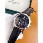 Bulova Chronograph Mặt Tròn Viền Bạc Dây Da Màu Đen 96A173