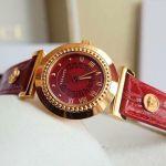 Versace Vanity Mặt Tròn Viền Vàng Dây Da Màu Đỏ P5Q80D800 S800
