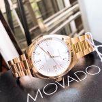 Movado Heritage Mặt Tròn Màu Trắng Dây Kim Loại Màu Vàng Hồng Lịch Ngày 3650058
