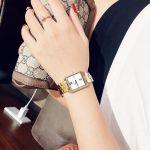 Michael Kors Lake Mặt Chữ Nhật Màu Trắng Dây Kim Loại Màu Vàng MK3949