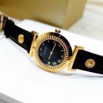 Versace Vanity Mặt Tròn Viền Màu Vàng Dây Da Màu Đen P5Q80D009S 009