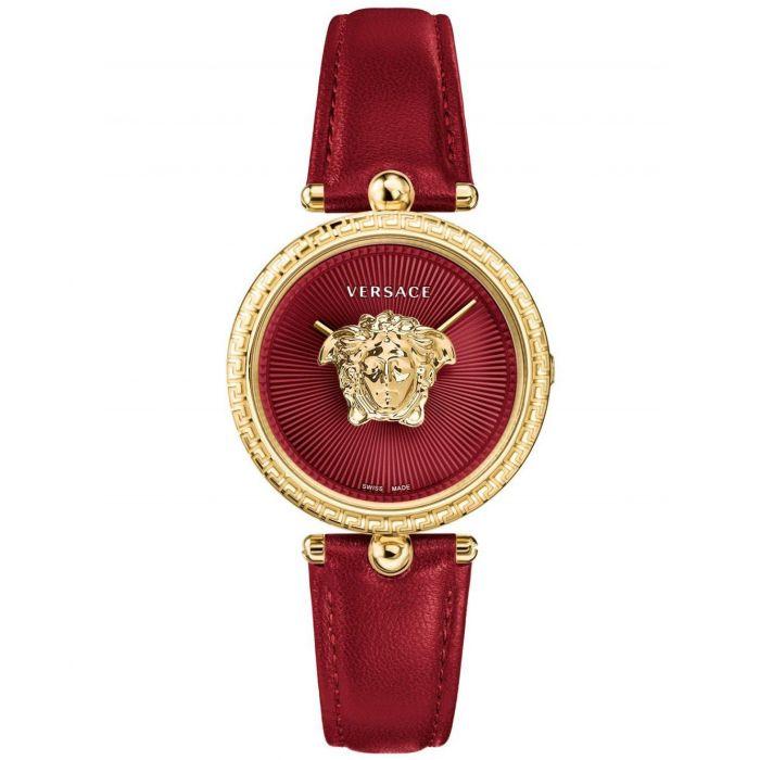 Versace Palazzo Empire Mặt Tròn Viền Vàng Dây Da Màu Đỏ VECQ00418