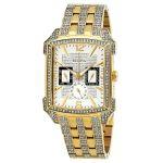 Bulova Crystal Chronograph Demi Vàng Mặt Chữ Nhật Đính Đá Dây Kim Loại Lịch Ngày Thứ 98C109