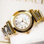 Versace Vanity Demi Vàng Hồng Mặt Tròn Dây Kim Loại P5Q80D499