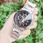 Seiko Chronograph Mặt Tròn Màu Đen Dây Kim Loại Màu Bạc Lịch Ngày SSB199P1