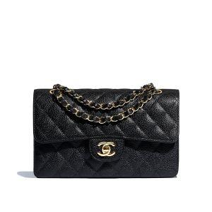 Chanel Classic Small Màu Đen Logo Dây Xích Màu Vàng A01113