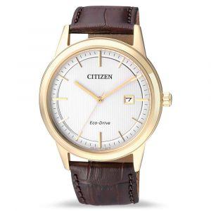 Citizen Eco-Drive Mặt Tròn Màu Trắng Dây Da Màu Nâu Lịch Ngày AW1212-10A