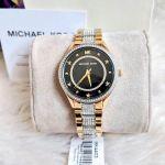 Michael Kors Lauryn Mặt Tròn Màu Đen Đính Đá Dây Kim Loại Màu Vàng MK4403