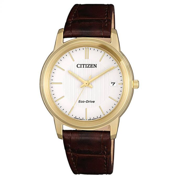 Citizen Eco-Drive Mặt Tròn Màu Trắng Dây Da Màu Nâu Lịch Ngày FE6012-11A