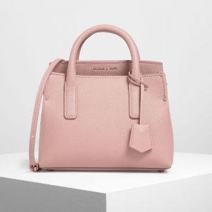 Charles & Keith Tuck-In Flap Structured Xách Tay Màu Hồng CK2-30270316-1