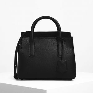 Charles & Keith Tuck-In Flap Structured Xách Tay Màu Đen CK2-30270316-1