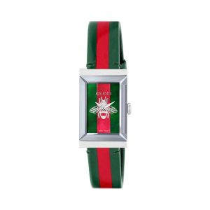 Gucci G-Frame Mặt Chữ Nhật Khảm Trai Dây Da Kẻ Sọc Xanh Đỏ YA147408