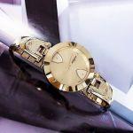 Salvatore Ferragamo Gilio Mặt Tròn Dây Kim Loại Màu Vàng FIW090017