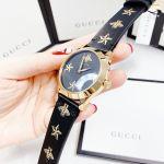 Gucci G-Timeless Mặt Tròn Dây Da Màu Đen YA1264055