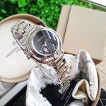 Citizen L Sunrise Solitare Diamond Mặt Tròn Màu Đen Dây Kim Loại Màu Bạc EW5520-50E