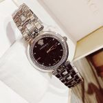 Versace Crystal Gleam Mặt Tròn Màu Đen Dây Kim Loại Màu Bạc VAN030016
