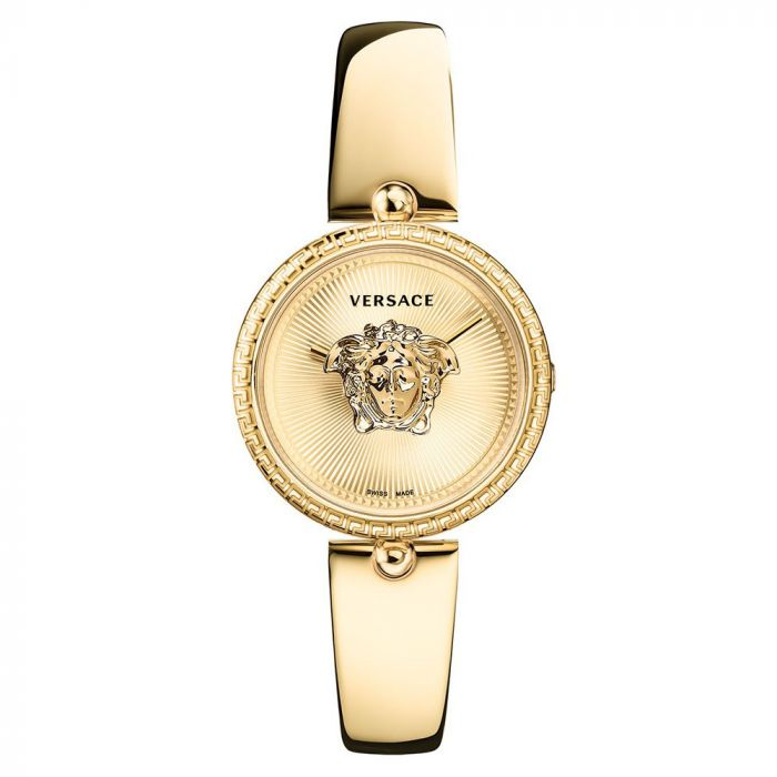 Versace Palazzo Mặt Tròn Dây Kim Loại Màu Vàng VECQ00618
