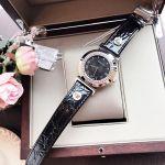 Versace Vanity Mặt Tròn Viền Bạc Dây Da Màu Đen P5Q99D009S009
