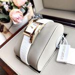 Versace Greca Icon Mặt Chữ Nhật Viền Vàng Dây Da Màu Trắng VELU00219
